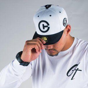 Cuzy T Men's White & Black Baseball Flat Brim Cap